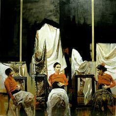 "ORTOLAN""Esperando el Nacer"" oleo sobre tabla - 80 x 80 cm."