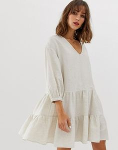 Buy Vero Moda linen smock dress at ASOS. Get the latest trends with ASOS now. Simple Dresses, Cute Dresses, Casual Dresses, Summer Dresses, Casual Outfits, Casual Business Look, Boho Fashion, Fashion Outfits, Gothic Fashion