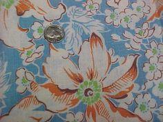 BEST-Vintage-Feedsack-Quilt-Fabric-Tropical-Floral-40s-Flour-Sack-WWII-Antique