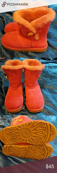 Ugg Pink Purple  Bailey Boots One Button 3 Ugg Pink/Purple (like a violet with pink undertones) Bailey Boots. Size girls 3. (Not toddlers) EU size 33. Good condition.  Very fluffy! UGG Shoes Ankle Boots & Booties