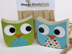 Owl Art Display Clips Green and Blue por MapleShadeKids en Etsy