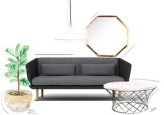 Sketch Morris 2.5 seater sofa surrounded by GlobeWest Samba basket, Taj mirror, Kingston Coffee Table and Drake Pendant Light. Illustration by @homedrawn