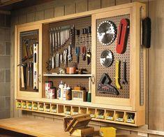 Sliding-Door Pegboard Cabinet Woodworking Plan
