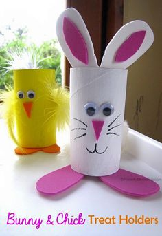 Easter Treat Holders from Cardboard Tubes bunny chick easter treat holder from cardboard tubes tp rolls Make these cute easter bunny and chick holders for your easter treats! Bunny Crafts, Easter Crafts For Kids, Toddler Crafts, Preschool Crafts, Diy For Kids, Toilet Paper Roll Crafts, Toilet Paper Rolls, Toilet Roll Craft, Easter Projects