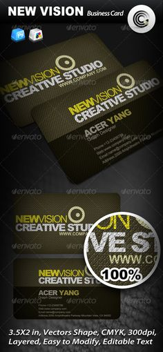 New Vision Creative Studio Business Card  #GraphicRiver         File Information: —-—-—-—-—-—-—- Dimensions (inch): 3.5×2 Colors: CMYK  Resolution: 300 DPI  bleed lines included Vectors shape psd file Font used: —-—-—-—-—-—-——- arial -> .azfonts /load_font/arial.html arial Black -> .azfonts /load_font/arial_black.html arial Bold -> .azfonts /load_font/arial_bold.html BernhardFashion BT -> .azfonts /load_font/bernhardfashion_bt.html   More Mock-ups, please Choese         More Company…