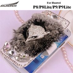 Leather Flip case Rex Rabbit Fur Cases Furry Diamond Crystal Covers Full Protective Bag For Huawei P8/P8 Lite / P9/P9 Lite