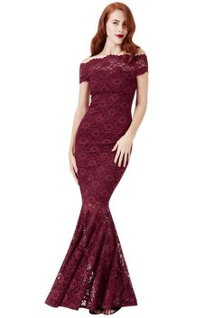 Bardot Lace Maxi Dress - Wine - Front - DR809