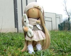 Jenna Doll-Handmade Doll-Fabric Doll-Rag от NICEDOLLSANDRABBITS