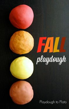 4 Playdough Recipes for Fall! All the fall favorites are here- pumpkin spice, apple, ginger, and nutmeg! Great sensory fun for autumn with preschoolers and kindergarten kids!  #playdoughtoplato #fallsensory #diyplaydough