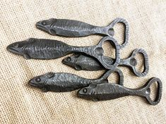 Hand forged Blacksmith made fish bottle opener image 4 Metal Art Projects, Welding Projects, Horseshoe Crafts, Horseshoe Art, Horseshoe Projects, Blacksmith Forge, Blacksmith Projects, Metal Art Sculpture, Welding Art