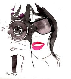 Shooting It Up print from original by JessicaIllustration on Etsy, $25.00 #art #watercolor #painting #fashionillustration #nikon #girlwithcamera #jessicadurrant #watercolor