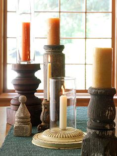 Shop architectural salvage stores for old finials, table legs, and porch posts to use as interesting candleholders. Longer posts can be cut into shorter pieces to make multiple candleholders.