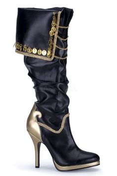 Buy Ladies Pirate Boots, available for Next Day Delivery. Deluxe Ladies Pirate Boots in Black with Gold Detail & Braiding. High Heel Boots, Knee Boots, Heeled Boots, High Heels, Stiletto Boots, Biker Boots, Women's Boots, Fancy Shoes, Me Too Shoes