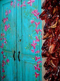 Perf Shed Doors!~New Mexico Doorway Cool Doors, Unique Doors, Mexico Style, New Mexico, Land Of Enchantment, Grand Entrance, Painted Doors, Door Knockers, Doorway