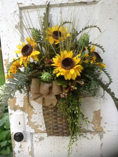 Summer wreath for door sunflower wreath by FlowerPowerOhio on Etsy