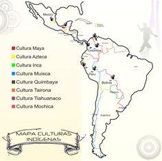 Mapa de las principales culturas precolombinas