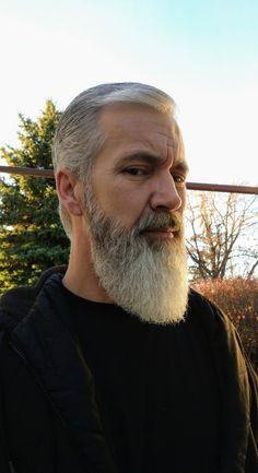 Trimmed it back a lot. Shape look ok? Grey Hair And Beard Styles, Grey Hair Beard, Long Beard Styles, Long Hair Beard, Beard Pictures, Beard Images, Grey Beards, Long Beards, Beard No Mustache