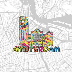 Amsterdam, Netherlands, Colorful Map Sign by #Hebstreit #map #travel #print #icon #europe #capital #landmark #urban #greeting #gift awesome #handmade #vector #download #product
