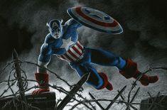Captain America by Greg Hildebrandt, in Robert Weinberg's Greg Hildebrandt Comic Art Gallery Room Comic Book Heroes, Comic Books, Captain America, Comic Art, Battle, Art Gallery, Marvel, Comics, Painting