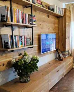 Living furniture made in solid oak and metal pipes Solid Oak Furniture, Den Furniture, Rustic Furniture, Furniture Making, Bedroom Furniture, Furniture Ideas, Oak Bookshelves, Rustic Bookshelf, Bookshelf Storage