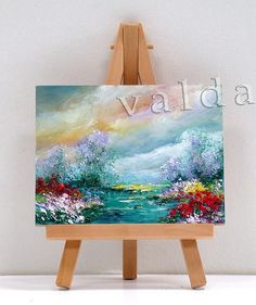 Spring To Summer Scene 3x4 miniature painting by valdasfineart