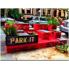 5.26.2012 Happened upon this in Park Slope. I would love to make a community garden like this in a large parking lot. Would be a great combo of container gardening and urban planning. I've seen parking lot gardens before, but I like this because it has a place to sit and be social.
