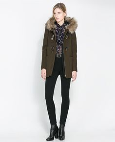 Image 1 of DUFFLE COAT WITH FUR TRIMMED HOOD from Zara