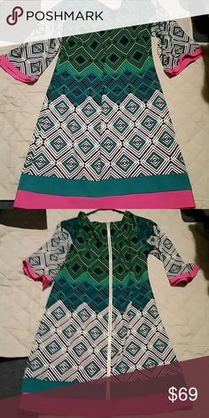SALE!! Eliza J Dress size 12 Excellent condition fun dress size 12 green black pink and white colors long zipper in the back Eliza J Dresses