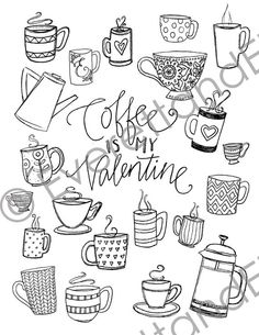 Digital Download Coffee Is My Valentine by EverettandEloise