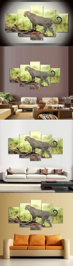 5 Panel Modern Printed African Leopard Canvas Art Oil Painting Picture Cuadros Home Decor For Living Room Mordern art GA1390 $19.9