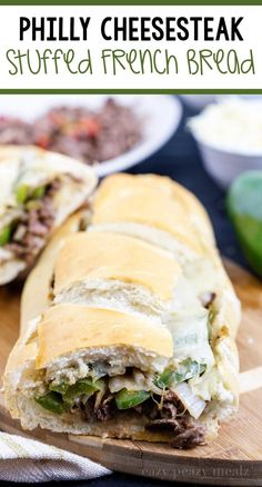 Tender meat, fragrant and delicious onions and peppers, melty cheese, and a crusty french bread Cheesy Recipes, Beef Recipes, Cooking Recipes, Recipies, Chicken Recipes, Crepes, Soup And Sandwich, Sandwich Recipes, Football Food