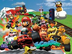 Have a gaming challenge night - make it retro themed, or get dressed up as characters to add more laughs! Super Mario Bros, Super Mario World, Super Mario Brothers, Video Game Movies, Video Game Art, Video Games, Mario Kart 64, Mario Bros., Mario All Stars