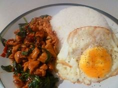 Pad Ka Prao Gai (chicken fried with thai basil) with a fried egg on top!