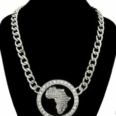 Rhodium & crystal africa statement necklace
