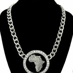 Rhodium & crystal africa statement necklace