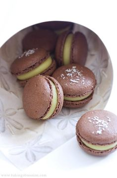 Chocolate Coconut French Macarons. Nut free! Might have to read this one day when I have time