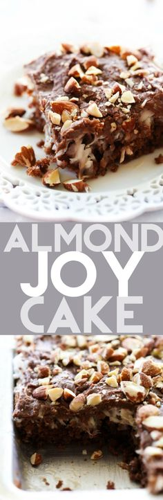 This Almond Joy Cake transforms the beloved candy bar into one outrageously tasty dessert. It includes a delicious moist chocolate cake, a creamy coconut layer, a rich chocolate frosting and crunch almonds. It is a hit wherever it goes!