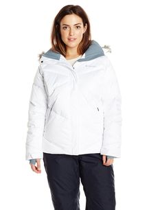 Columbia Women's Plus Lay D Down Jacket, White, 2X. Omni-Heat reflective lining. 550 fill power down insulation. Removable. adjustable storm hood. Underarm venting. Adjustable. snap back powder skirt Media and goggle pocket. Waterproof zippered pockets. Comfort cuffs Thumb holes. Drawcord adjustable hem Removable faux fur.