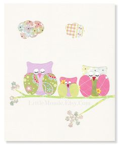 The Owl Family 8x10 Personalized Nursery Print Baby Girl Nursery Decor, Pastel Beige Pink Purple Lime Green Nursery Mixed Media Collage Decoupage Birds Cute by LittleMonde, $16.00