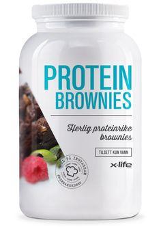 Proteinbrownie 750gX-life proteinbrownie er en myk og deilig sjokoladekakemiks som inneholder ca 4 x mer proteiner enn vanlige brownies / sjokoladekaker.
