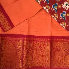 Light orange and dark red long border Sungudi with Patola print blouse