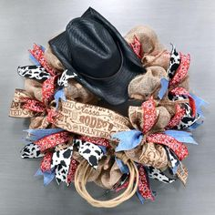 Bring your craft projects to life with a funny hat, some legs, or add a face or a mask. Our selection of these character accessories for every season will make an excellent finishing touch to your wreaths, door decorations, centerpieces and more. Western Wreaths, Country Wreaths, Western Decorations, Wreath Crafts, Diy Wreath, Wreath Ideas, Wreath Making, Western Theme, Western Cowboy