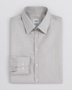 Armani Collezioni Textured Solid Dress Shirt