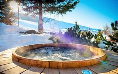 We love this hot tub found at the Luxury Ski Chalet, Petite Marmotte Lodge, Courchevel France, France (photo Ski Chalet, Chalet Meribel, Hot Tub Deck, Chalet Interior, Chalet Design, Outdoor Spa, Hotels, Cabins In The Woods, Skiing