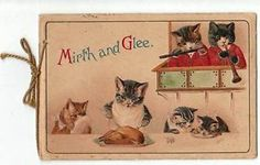 Edwardian Folded New Year card Musical Cats, Carving Turkey, Licking Plates. Helena Maguire.