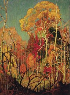 Autumn in Orillia - Franklin Carmichael - Member of The Group of Seven  - AMAZING ARTIST capturing true Canadian Fall Colours.