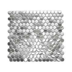 The penny round pattern is a popular design of mosaic stainless steel tile that can be used in many applications. The small penny sized pieces create an awe inspiring effect when they come together on a large wall or back splash. The tiles in this sheet are mounted on a nylon mesh which allows for an easy installation. 11 Sheets Square Feet per Pack: 10.78
