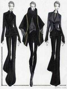 Fashion Sketchbook - fashion illustrations; tailored sportswear line up; fashion portfolio // Elana Kloss