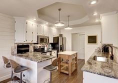 Country Kitchen with Athens Raised Panel Cabinets, Painted Shade Pendant By Sea Gull Lighting, Copenhagen Granite Countertop Country Kitchen Designs, Rustic Kitchen Design, Rustic Design, Country Kitchens, Kitchen Peninsula, White Kitchen Island, Kitchen On A Budget, Diy Kitchen, Kitchen Ideas