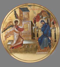 ΜΡ.ΘΥ__Ευαγγελισμός της Υπεραγίας Θεοτόκου _ march 25 (Annunciation Byzantine Icons, Byzantine Art, Religious Icons, Religious Art, Orthodox Icons, Sacred Art, Christian Art, Map Art, Our Lady